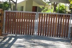 Hardwood slat powder coated steel framed gates - RD-S03